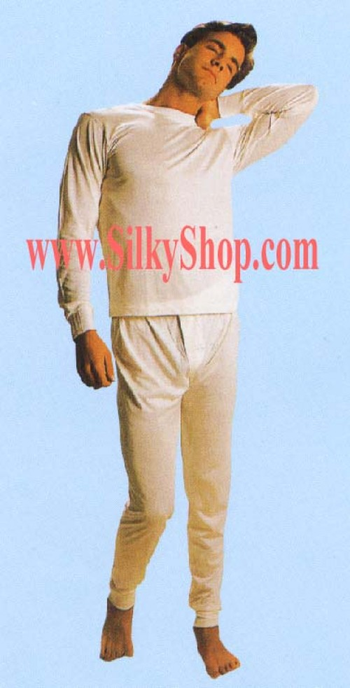 B035Q MEN Silk Crew Neck Long Johns SET